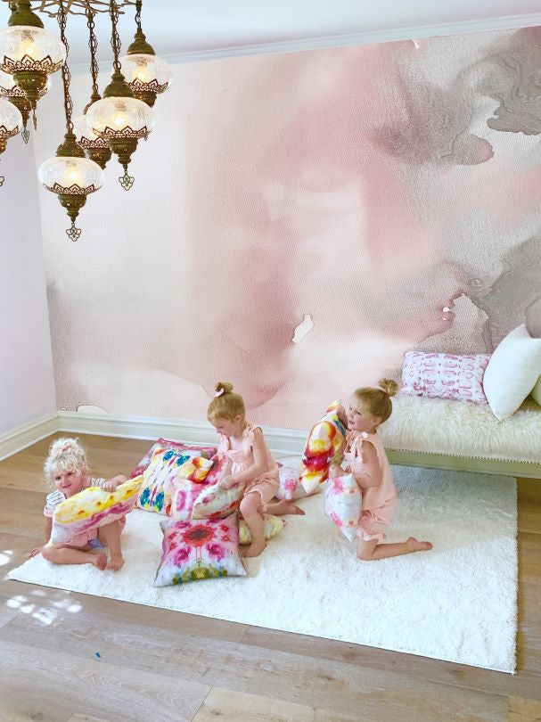 Girls bedroom wall mural, girls playroom design, large blush wall decal