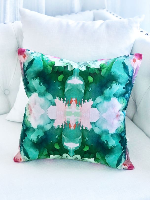 Designer favorite green, peach and pink pillow