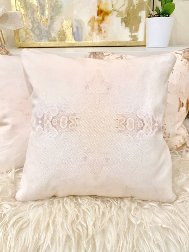 Handmade blush pink and white throw pillow