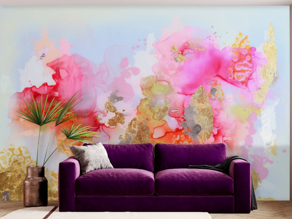 Pink Peel and Stick Wall Mural in Living Room