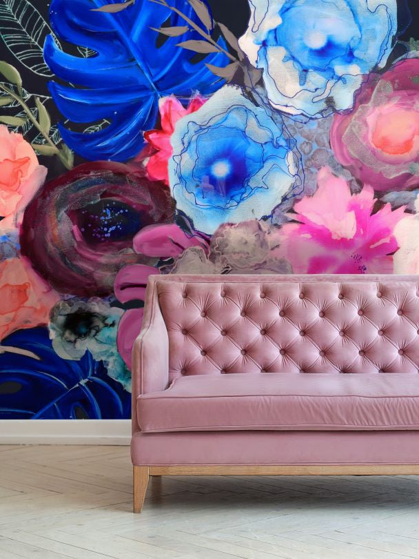 Wallpaper wall mural behind pink sofa