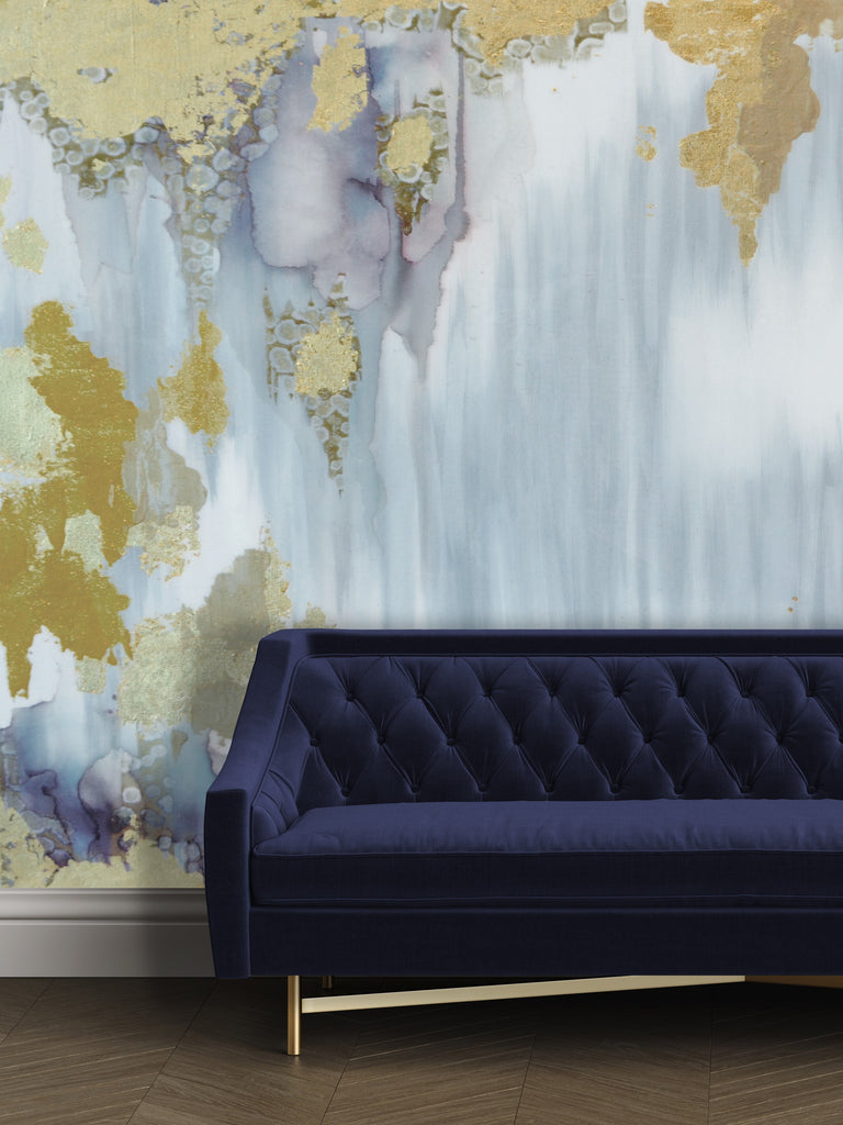 Gold and blue grey large wall mural removable wallpaper
