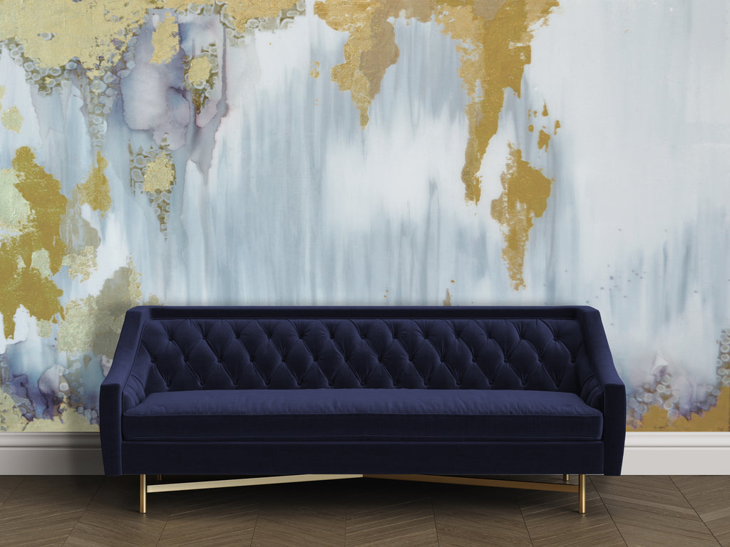 abstract natural grey wall mural behind navy blue sofa