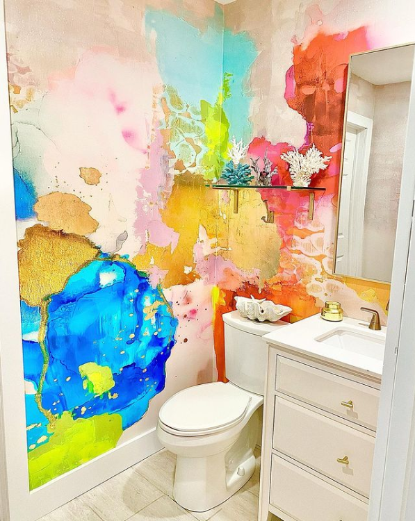 colorful wallpaper in coastal powder room