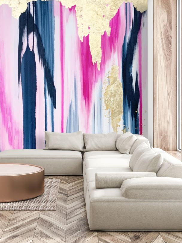 navy, pink, gold, abstract wall decal