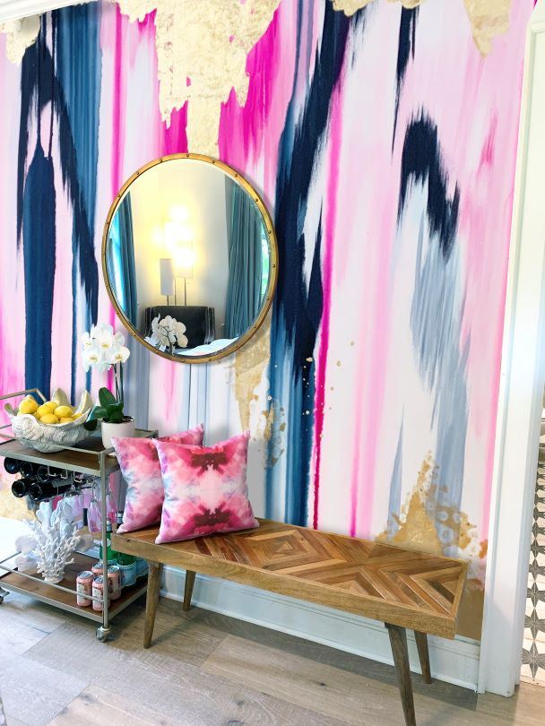 removable wall mural pink, navy blue and gold