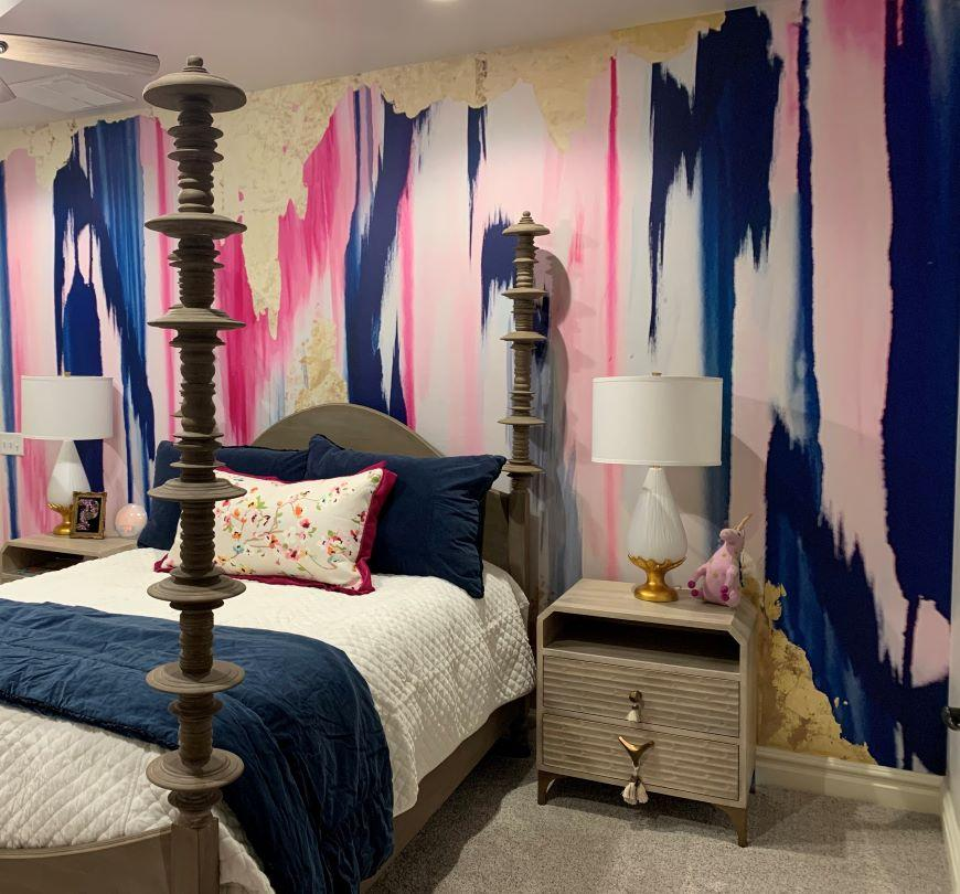pink bedroom removable wall mural