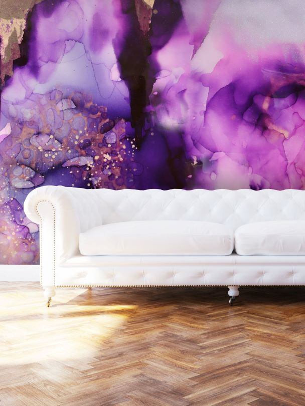Purple Wall art behind white sofa