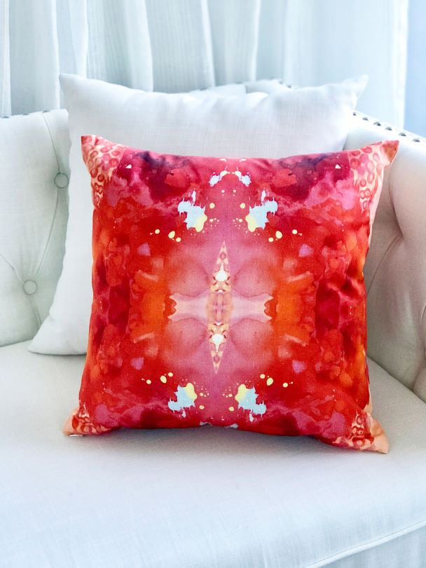 boutique red decor pillow for sale by Vivian Ferne