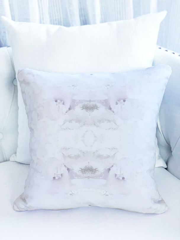 "White ""Salt Crystal"" pillow on white sofa for sale by Vivian Ferne"