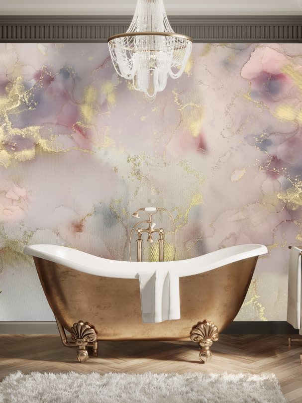 Blush and Gold Abstract Removable Wallpaper