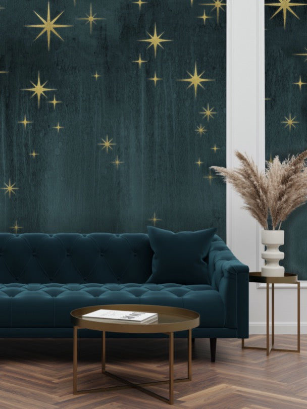Teal and Gold Metallic Wallpaper Behind Green Velvet Sofa