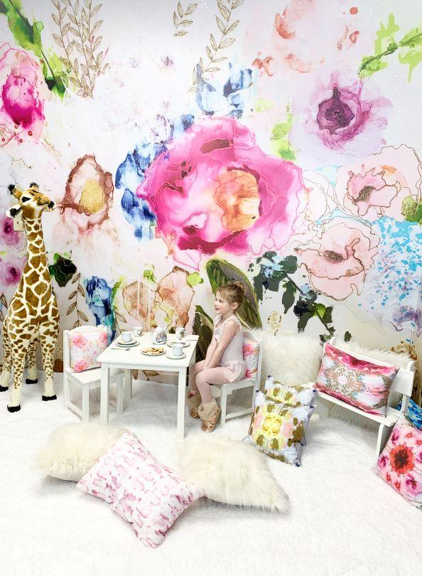 colorful flower little girls bedroom wall mural
