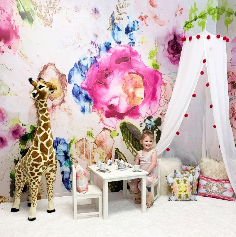 Pink floral little girls playroom