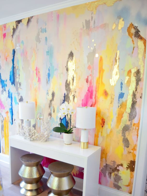 multi color and gold wall mural