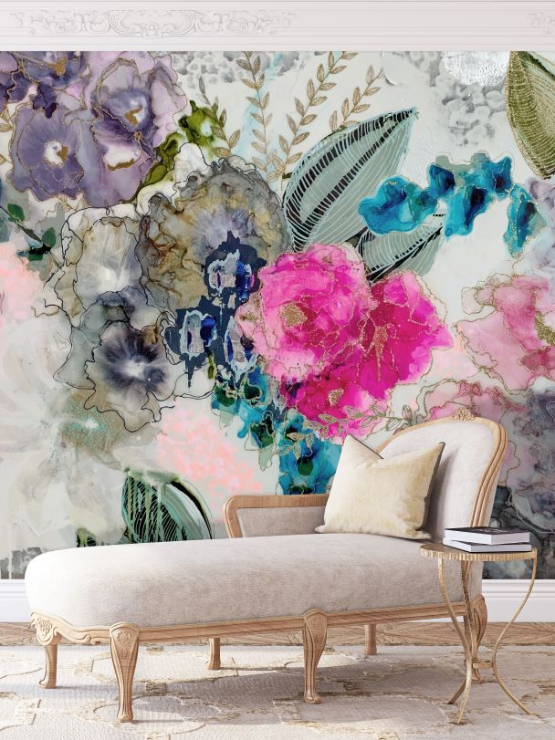 watercolor floral wall mural wallpaper in French interior decor