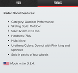 Radar Donut Wheels (4-Pack)