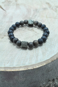 Pyrite Cube, Lava and Greywood Stretch Bracelet