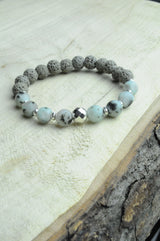 Sesame Jasper and Grey Lava Oil Diffuser Bracelet