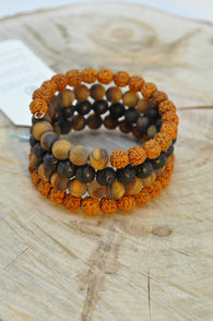 Rudraksha, Tigers Eye and Lava Wrap Bracelet