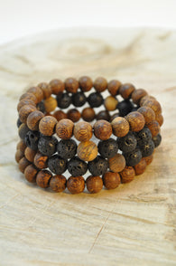 Cacao Wood, Tigers Eye and Lava Wrap Bracelet