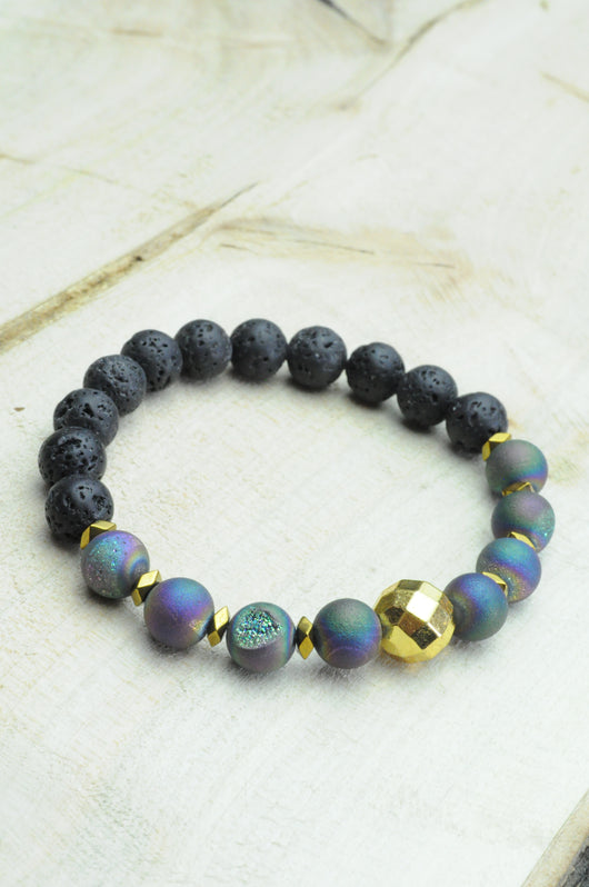 Rainbow Druzy Agate and Lava Oil Diffuser Bracelet