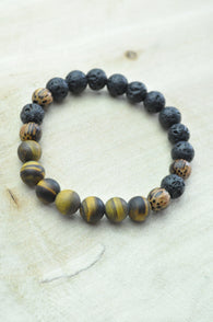 Tigers Eye, Lava and Patikan Stretch Bracelet