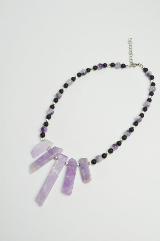 Amethyst and Obsidian Crystal Gemstone Statement Necklace