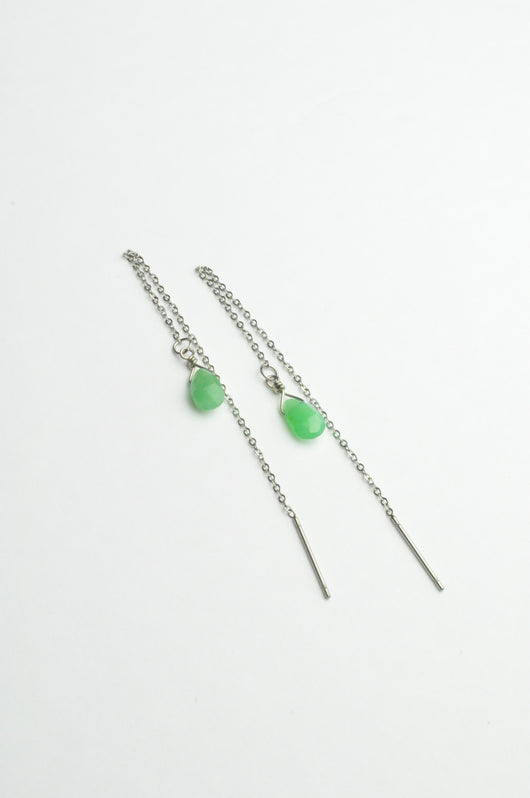 Chrysoprase Ear Threaders