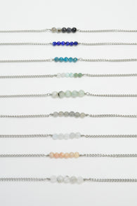Tiny Gemstone Bar Pendants