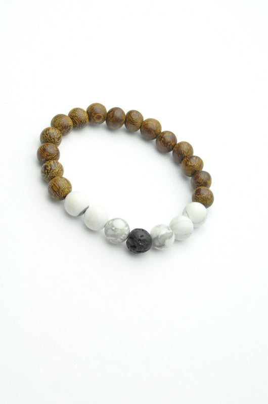 Howlite, Cacao Wood and Lava Oil Diffuser Bracelet