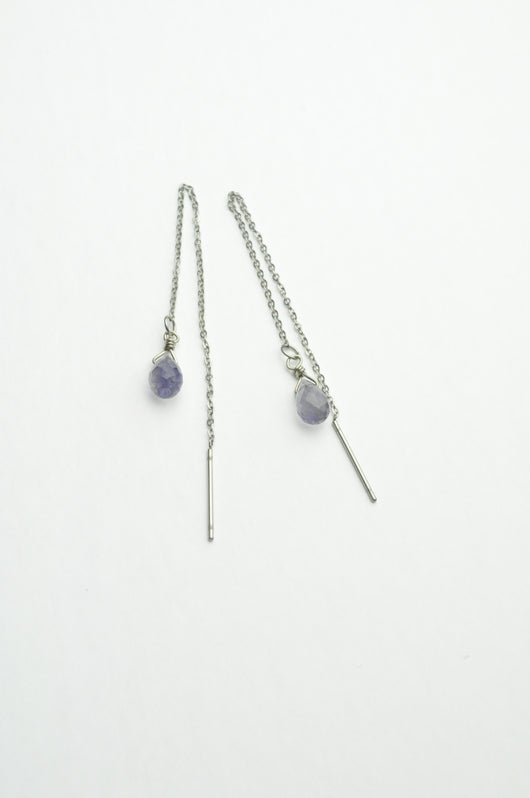 Iolite Crystal Healing Ear Threaders