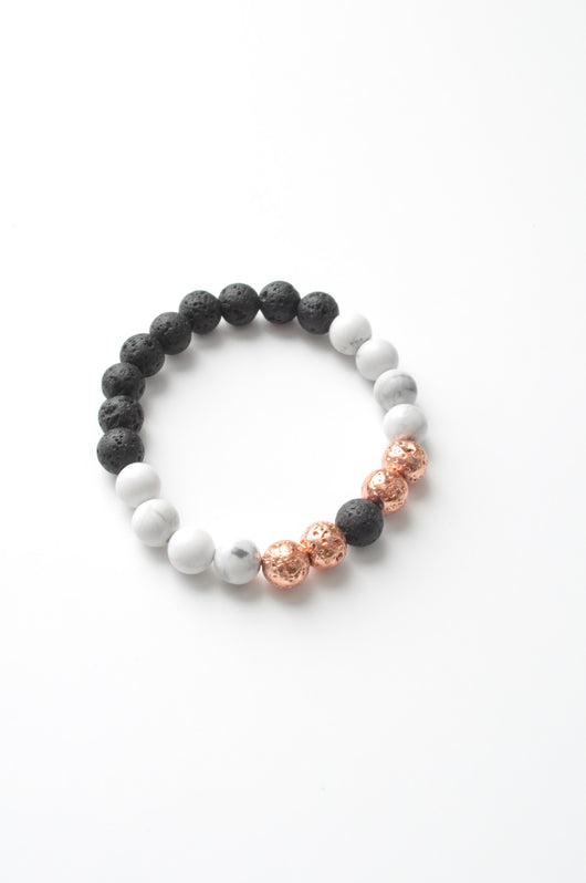 Howlite, Electroplated Lava and Lava Aromatherapy Crystal Healing Essential Oil Diffuser Bracelet
