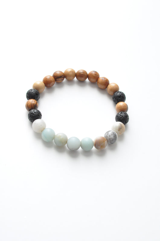 Amazonite, Olive Wood and Lava Essential Oil Crystal Healing Aromatherapy Bracelet