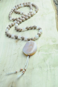 Rose Wood and Rose Quartz Mala Style Necklace