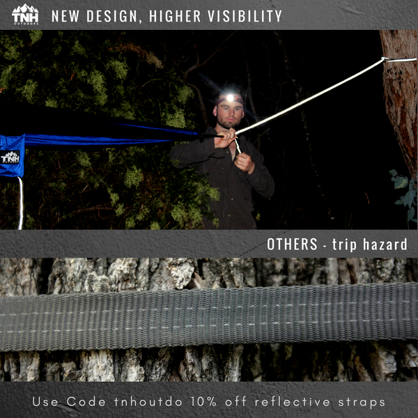 How stay safe at night when hammock camping: Creating less trip hazards and greater visibility.