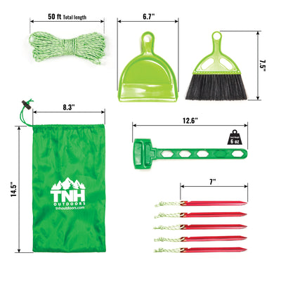 Tent Kit With Aluminium Tent Stakes, Plastic Mallet, Nylon Rope Dust Pan And Brush