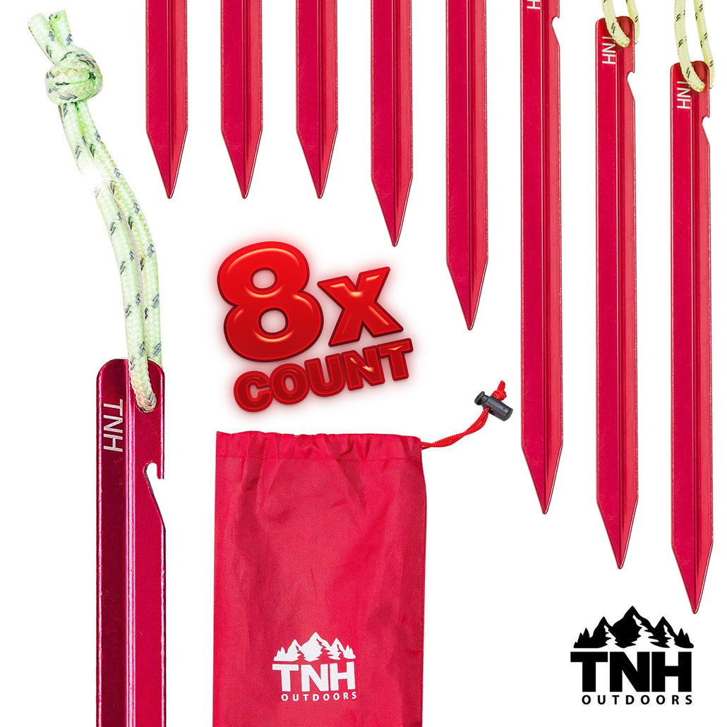 Single Latch Aluminum Tent Stakes 8x & Bag
