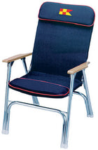 Padded Deck Chair Navy W/Red