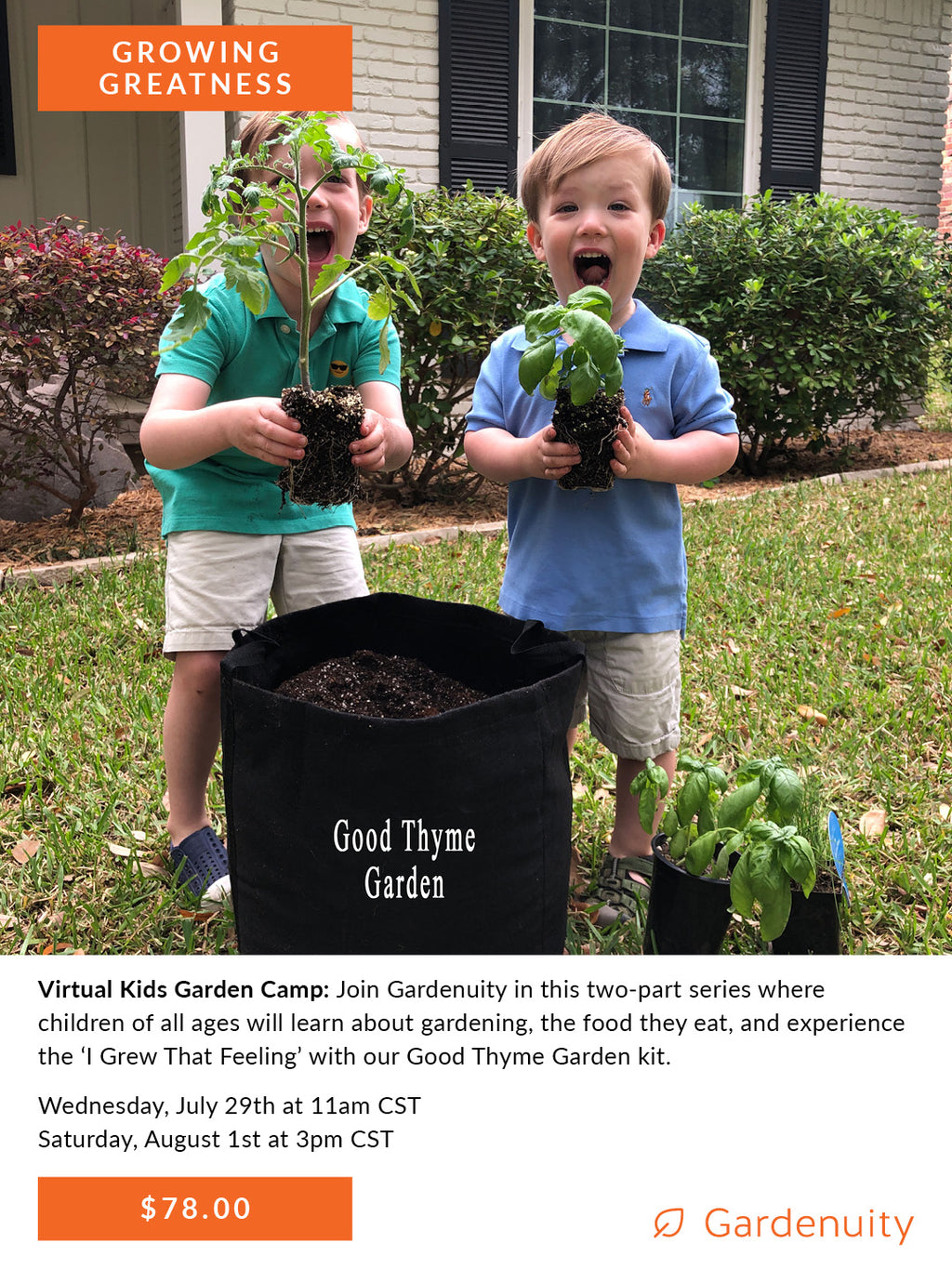 Good Thyme Kids Garden Club: Virtual Summer Camp | July 29th & August 1st