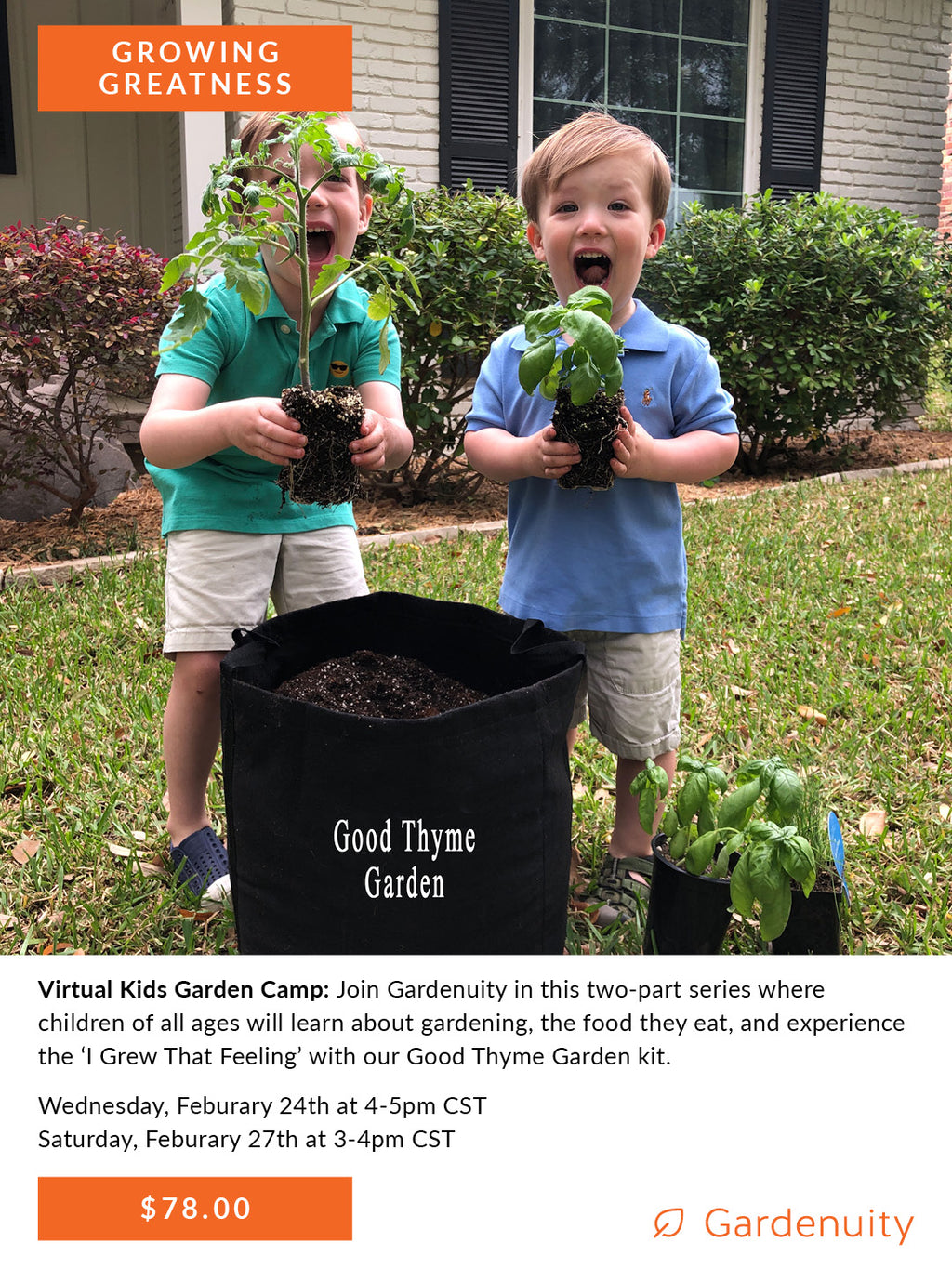 Good Thyme Kids Garden Club: Virtual Camp | February 24th & 27th