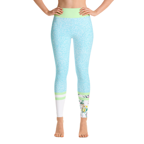 Striped R's Blue Yoga Leggings
