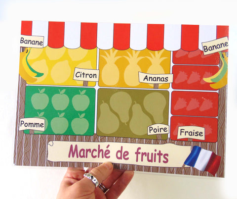 Child's Dough Market Stall play mat with fruit cutters - French