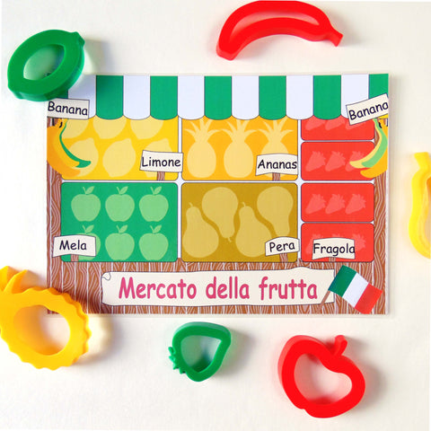 Child's Dough Market Stall play mat with fruit cutters - Italian