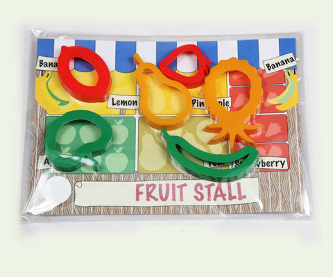 Child's Dough Market Stall play mat with fruit cutters