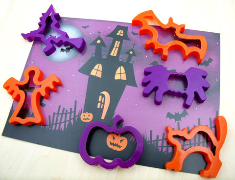 Child's Dough Play Mat with Halloween Dough Cutters
