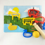 Child's Dough Farm play mat with animal cutters