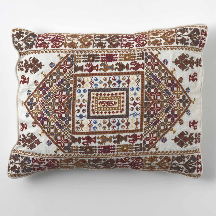 Beige Symmetrical Print Cushion