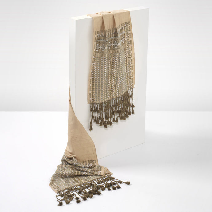 Beige Embroidered Shawl