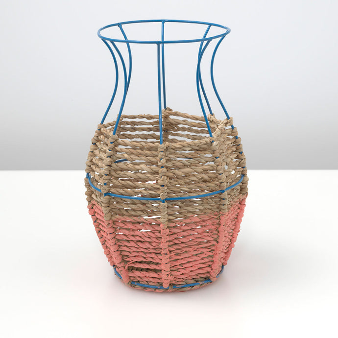 Wicker and Metal Fluted Vase